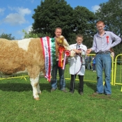 Cappamore 2011 Champion Senior Heifer & Champion Simmental with John & Ronan Touhy and Seanie McGarry, Judge.